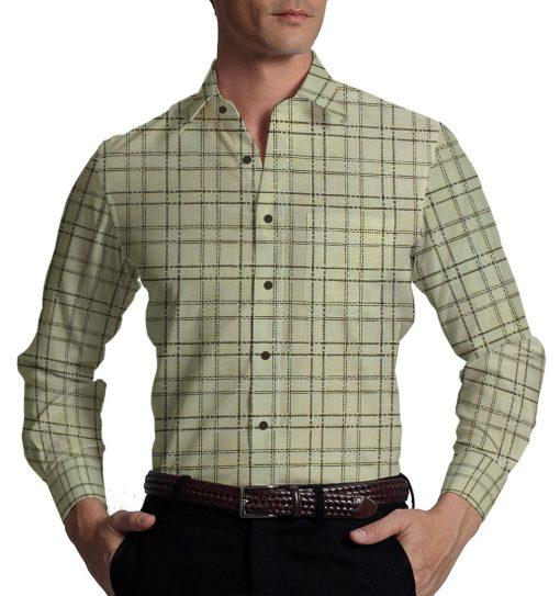 Reid & Taylor Dark Brown Checks Trouser Fabric With Exquisite Khadi Look Beige Checks Shirt Fabric (Unstitched)