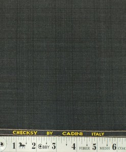 Cadini Italy by Siyaram's Dark Grey Self Checks Poly Viscose Trouser or 3 Piece Suit Fabric (Unstitched - 1.25 Mtr)