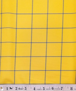 Monza Bright Yellow 100% Superfine Cotton Royal Blue Broad Checks Shirt Fabric (1.60 M)
