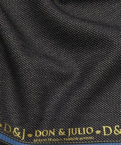 Don & Julio Blackish Grey Dotted Structure Unstitched Terry Rayon Thick Suiting Fabric