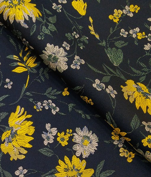 Nemesis Dark Blue & Multicolor Floral Jacquard Unstitched Terry Rayon Blazer or Bandhgala Fabric