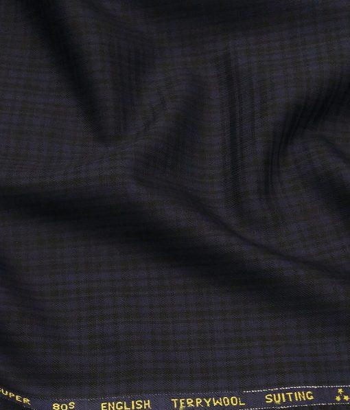Saville & Young Dark Blue & Black Self Checks Super 80's 45% Merino Wool Suiting Fabric