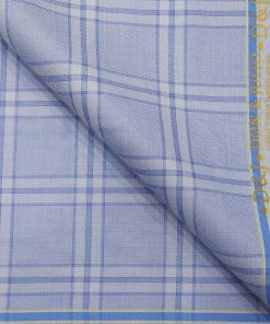 Don & Julio Men's Light Sky Blue Terry Rayon Broad Checks Unstitched Suiting Fabric - 3.75 Meter