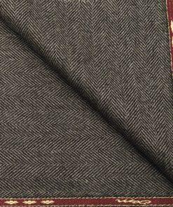 OCM Men's Herringbone 100% Pure Merino Wool Thick Tweed Unstitched Jacketing & Blazer Fabric (Dark Grey