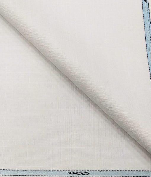 OCM Men's Self Check 15% Merino Wool Unstitched Safari Suit Fabric (White