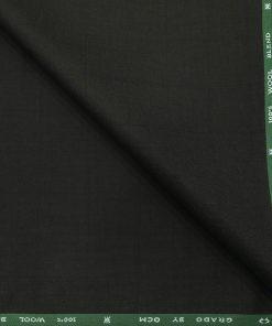 OCM Men's Self Checks 45% Merino Super 100's Wool Unstitched Suiting Fabric (Dark Green)