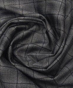 Don & Julio Terry Rayon Unstitched Checks Suiting Fabric (Dark Grey)