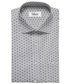 Pee Gee Men's Cotton Printed 1.60 Meter Unstitched Shirt Fabric (Light Grey)