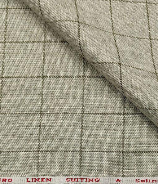 Solino Men's Linen Green Checks 3 Meter Unstitched Suiting Fabric (Pistachious Beige)