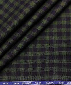 Tessitura Monti Men's Giza Cotton Checks  Unstitched Shirting Fabric (Dark Blue & Green)
