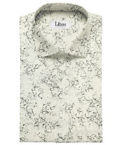 Bombay Rayon Men's Cotton Printed 2.25 Meter Unstitched Shirting Fabric (Grey)
