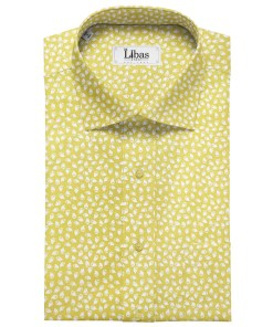 Cadini Men's Cotton Printed 2.25 Meter Unstitched Shirting Fabric (Yellow)