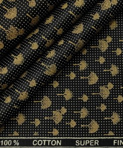 PEE GEE Men's Cotton Printed 2.25 Meter Unstitched Shirting Fabric (Black)