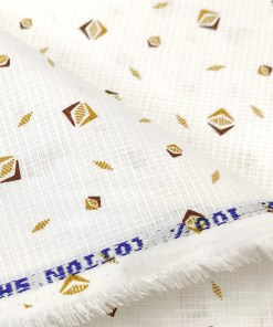 Solino Men's Cotton Printed 2.25 Meter Unstitched Shirting Fabric (White & Brown)
