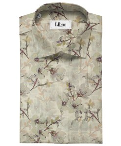 Pee Gee Men's Linen Printed 2.25Meter Unstitched Shirting Fabric (Beige)