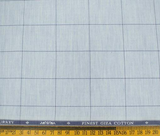 Soktas Men's Giza Cotton Checks Unstitched Shirting Fabric (Sky Blue )