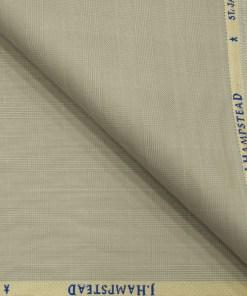 J.Hampstead Men's Polyester Viscose Checks 3.75 Meter Unstitched Suiting Fabric (Buttermilk Beige)