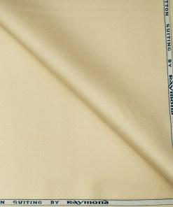Raymond Men's Cotton Solids  Unstitched Trouser Fabric (Egg nog Beige)