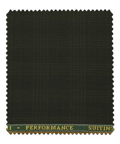 Cadini Men's Polyester Viscose Checks 3.75 Meter Unstitched Suiting Fabric (Dark Green)