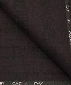 Cadini Men's Terry Rayon Checks 3.75 Meter Unstitched Suiting Fabric (Dark Wine )