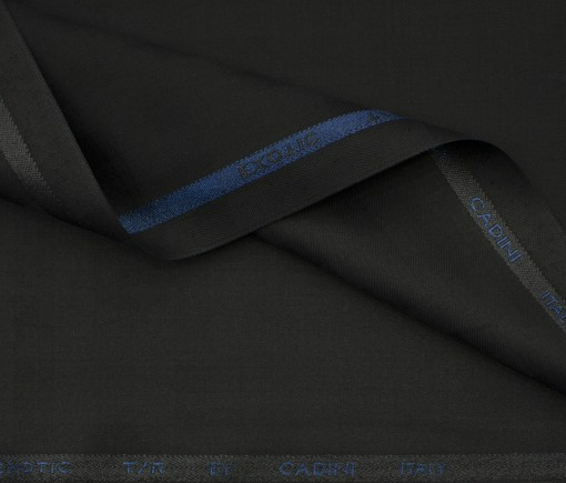 Cadini Men's Terry Rayon Checks 3.75 Meter Unstitched Suiting Fabric (Black)