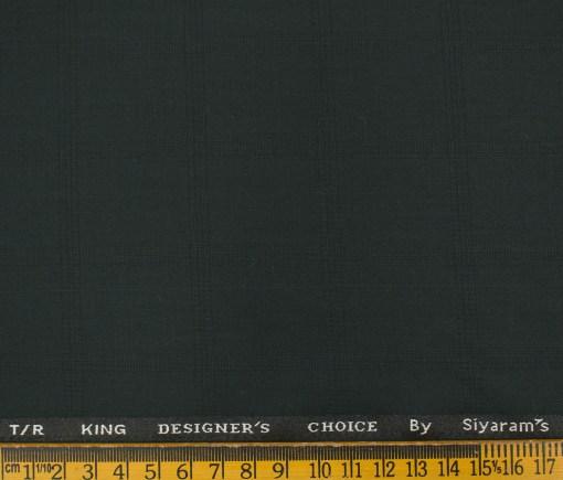 Siyaram's Men's Terry Rayon Checks 3.75 Meter Unstitched Suiting Fabric (Dark Green)
