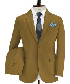 Absoluto Men's Terry Rayon Solids 3.75 Meter Unstitched Suiting Fabric (Mustard Gold)