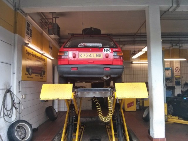 The Micra gets her underside inspected