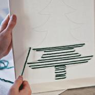 DIY kerstschilderij met wol