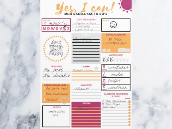 Freebie: superhandige dagplanner