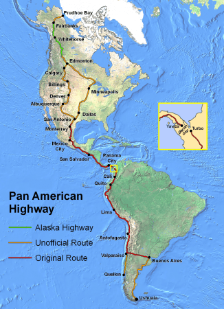 """""""PanAmericanHwy"""" by Created by en:User:Seaweege and released to PD - Own work. Licensed under Copyrighted free use via Commons - https://commons.wikimedia.org/wiki/File:PanAmericanHwy.png#/media/File:PanAmericanHwy.png"""