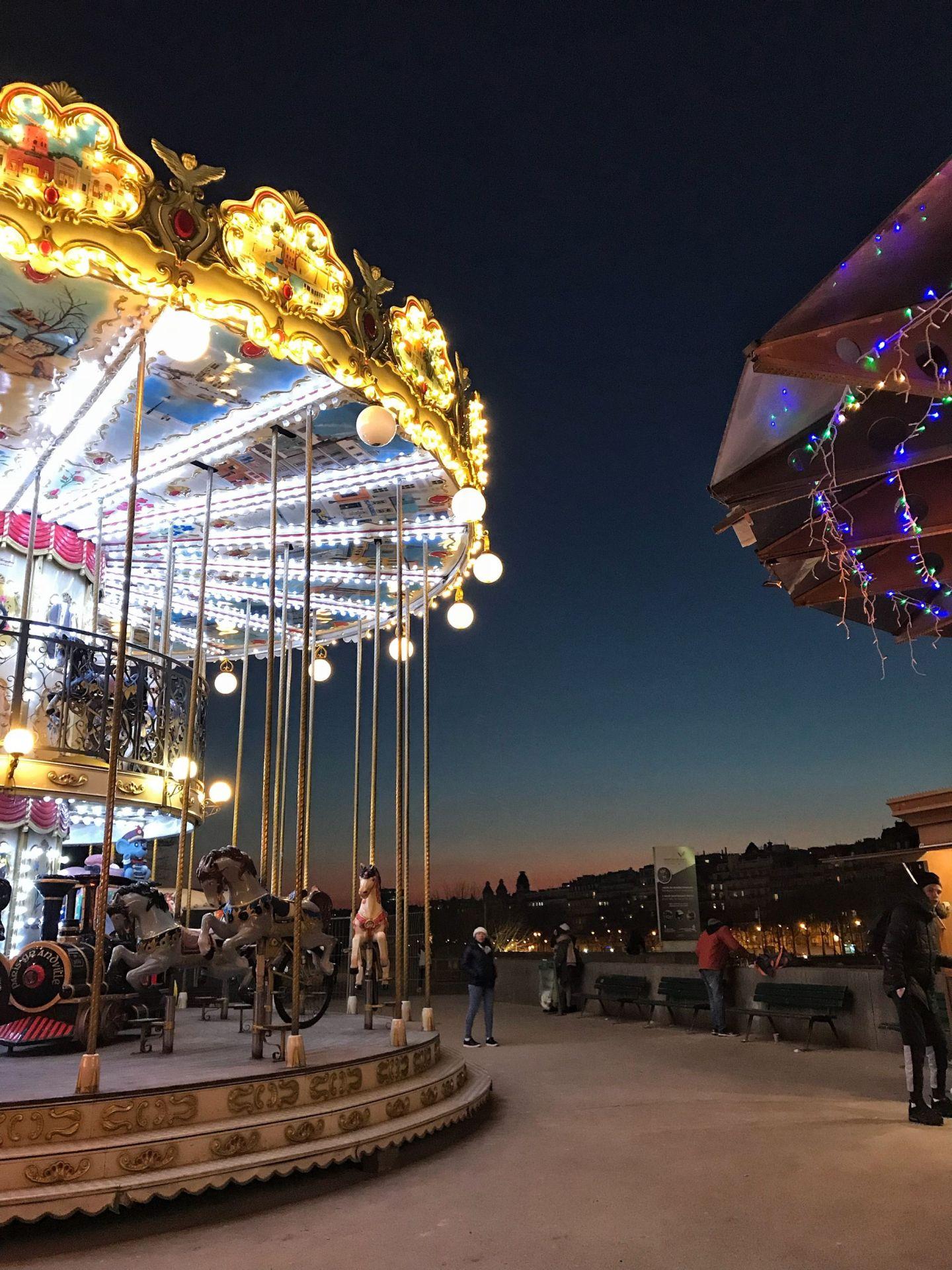 Eiffel Tower Carousel at Dusk