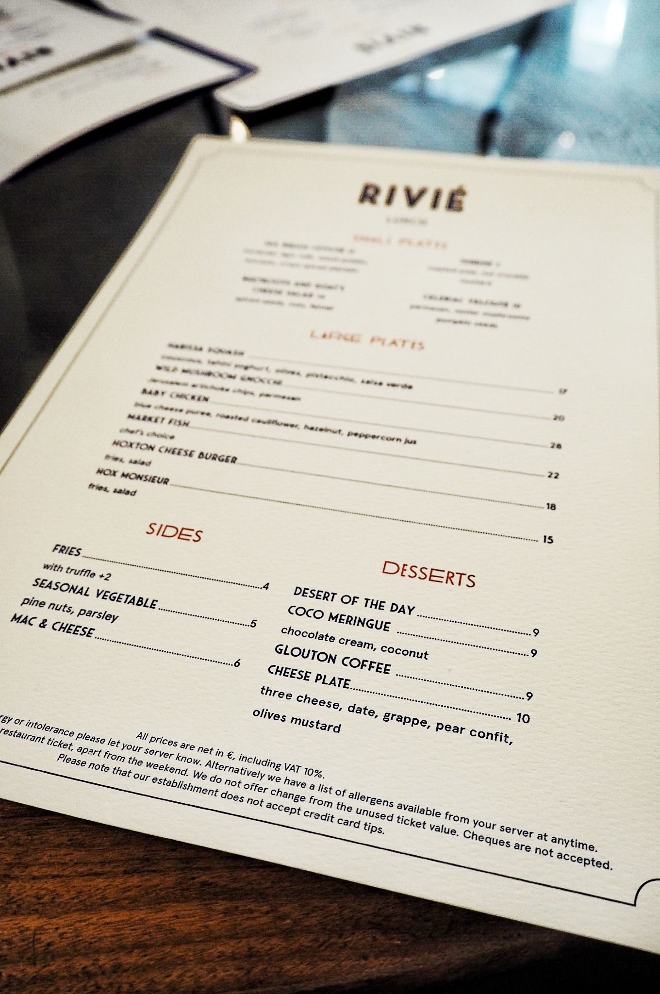 Rivie Restaurant Menu Hoxton Hotel Paris