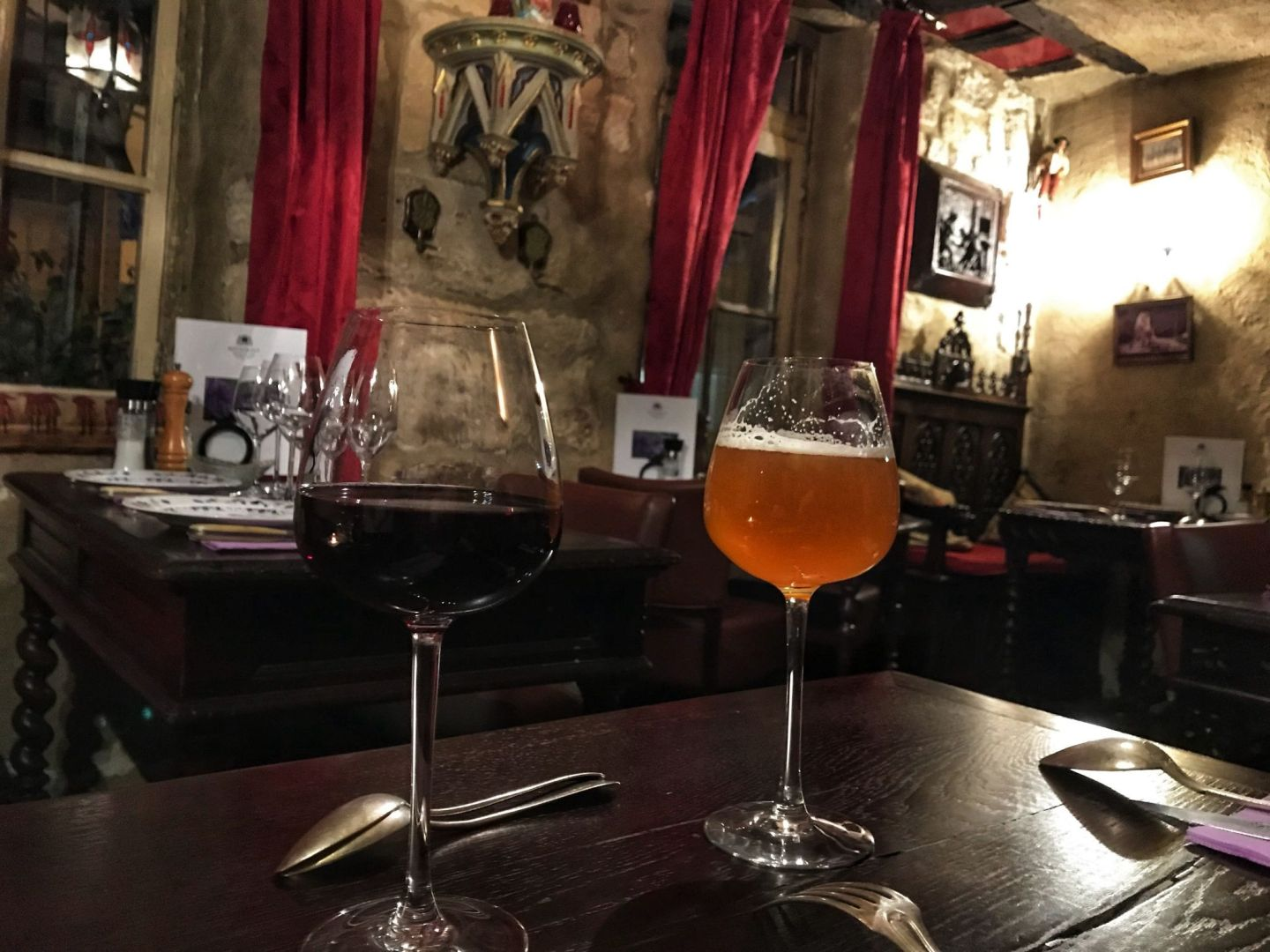 Wine and beer at Au Vieux Paris D'Arcole