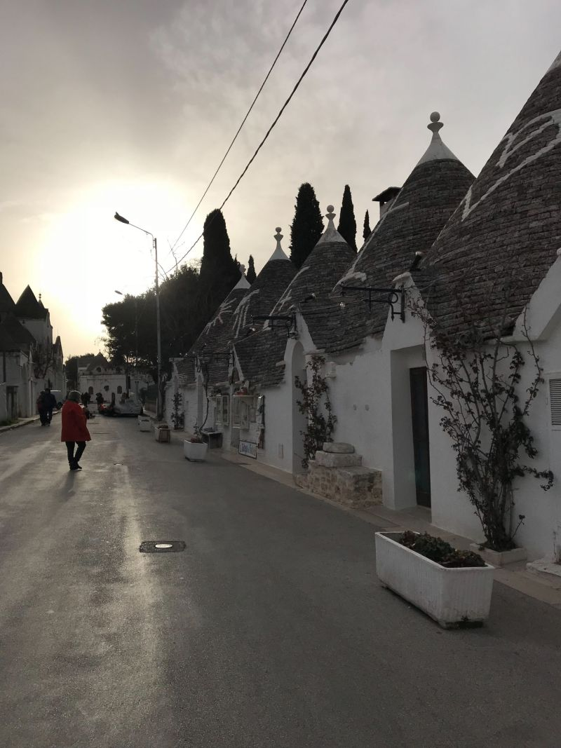 Sunset streets of Alberobello
