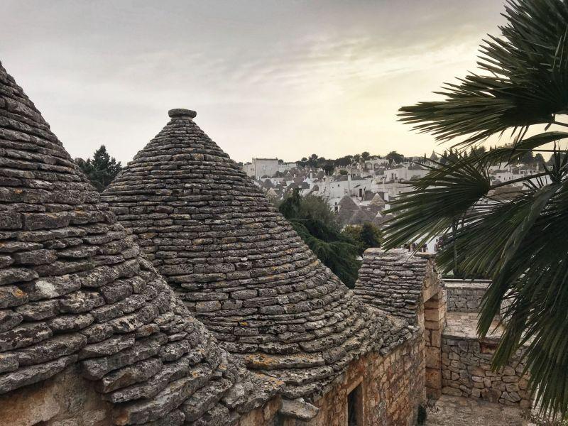 Sunset Trulli houses Alberobello Puglia Southern Italy