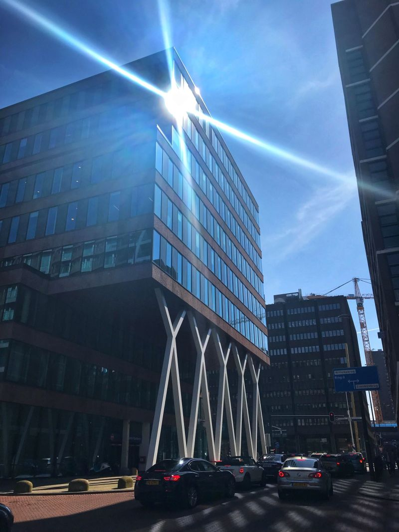 sunlight reflection off the skyscraper Rotterdam