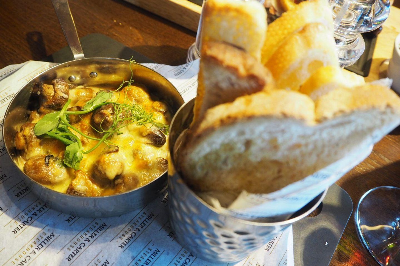Garlic mushrooms and bread Miller and Carter Restaurant