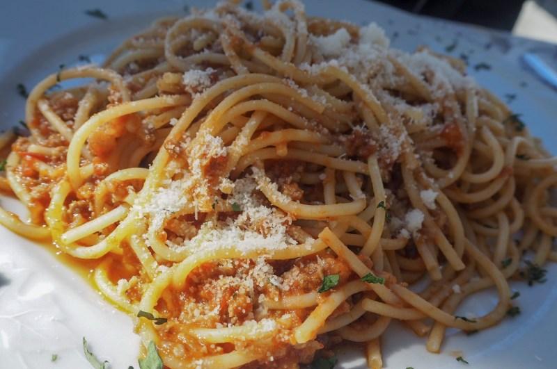 Italian Spaghetti Bolgonese Panoramic Restaurant Lake Maggiore