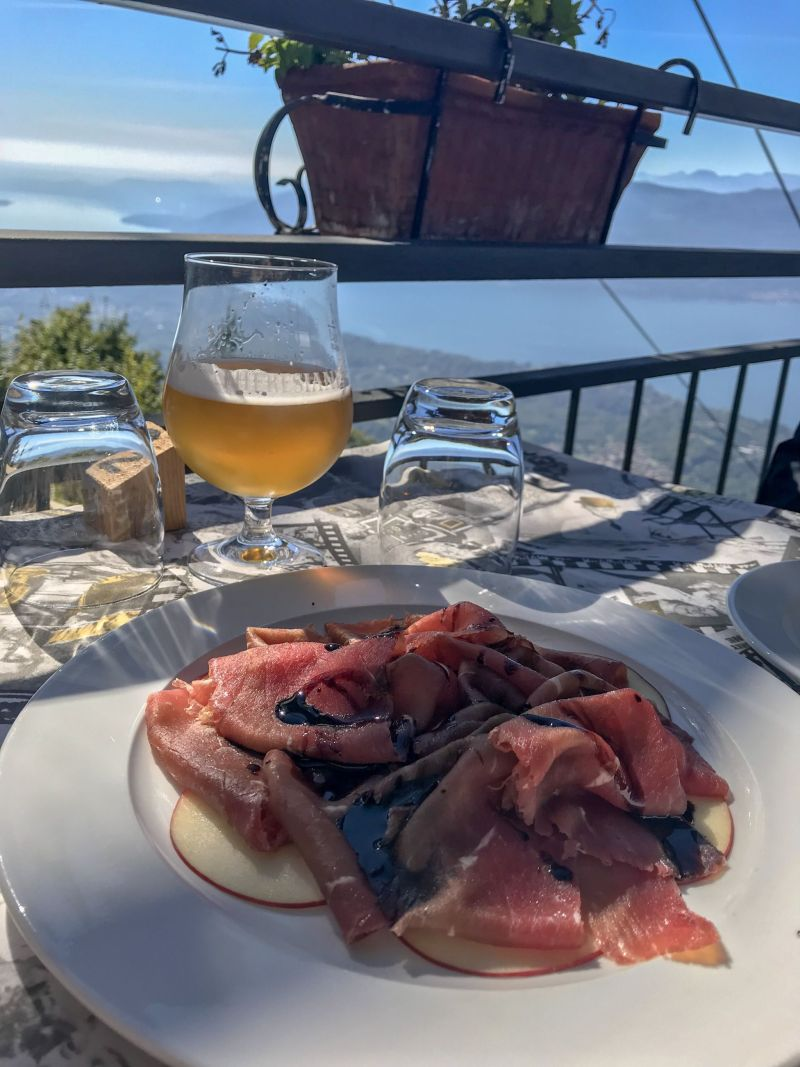 Salted meat and views over Lake Maggiore