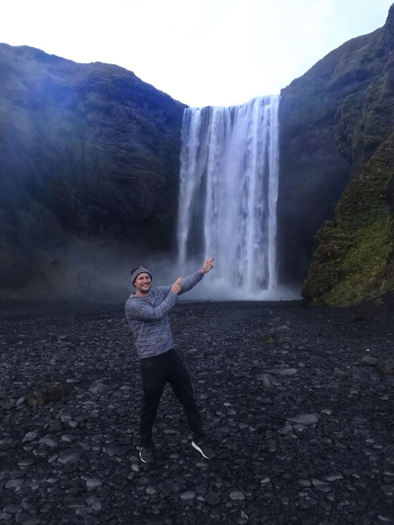 Larking around at Skogafoss Falls Iceland