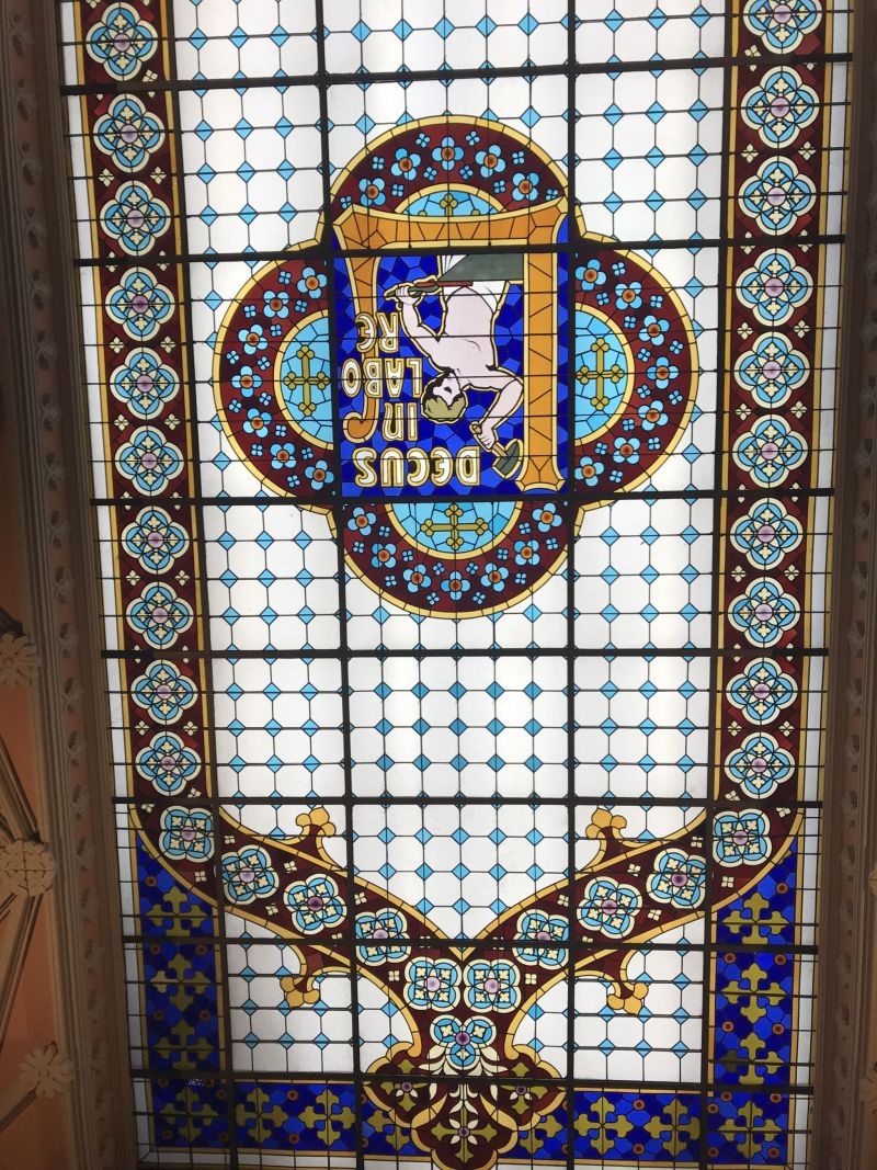 Livraria Lello Bookstore stained glass window Porto