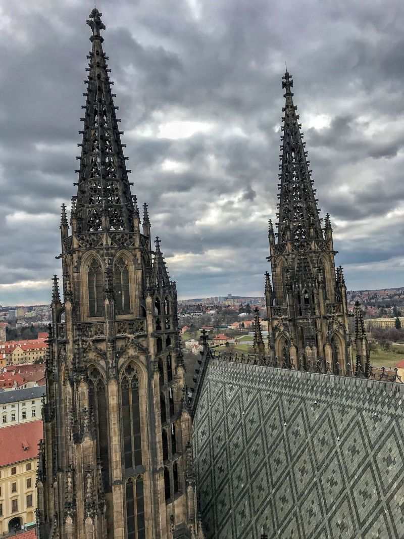 The dramatic St Vitus Cathedral spires