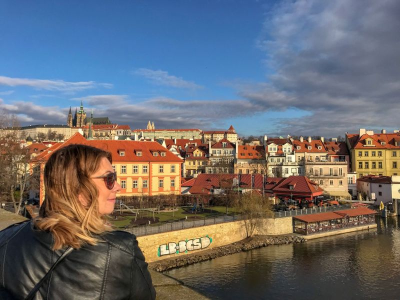 sunshine and pictureques views of Prague from the Charles Bridge