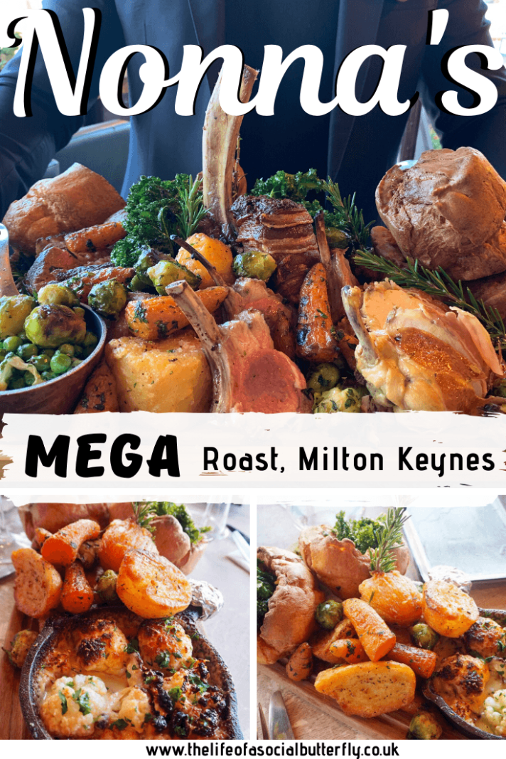 Nonnas Mega Roast is redefining your Sunday roast dinner expectations! Check out my Nonna's Woburn Sands Review of the mouthwatering Mega Roast Menu!I I've reviewed Nonnas, Woburn Sands, Milton Keynes New Sunday Brunch Menu, with food platers resembling medieval food to Instagrammable food to inspire a ladies brunch!. Click to read more! #Sundaydinner #sundaymeals #miltonkeynes