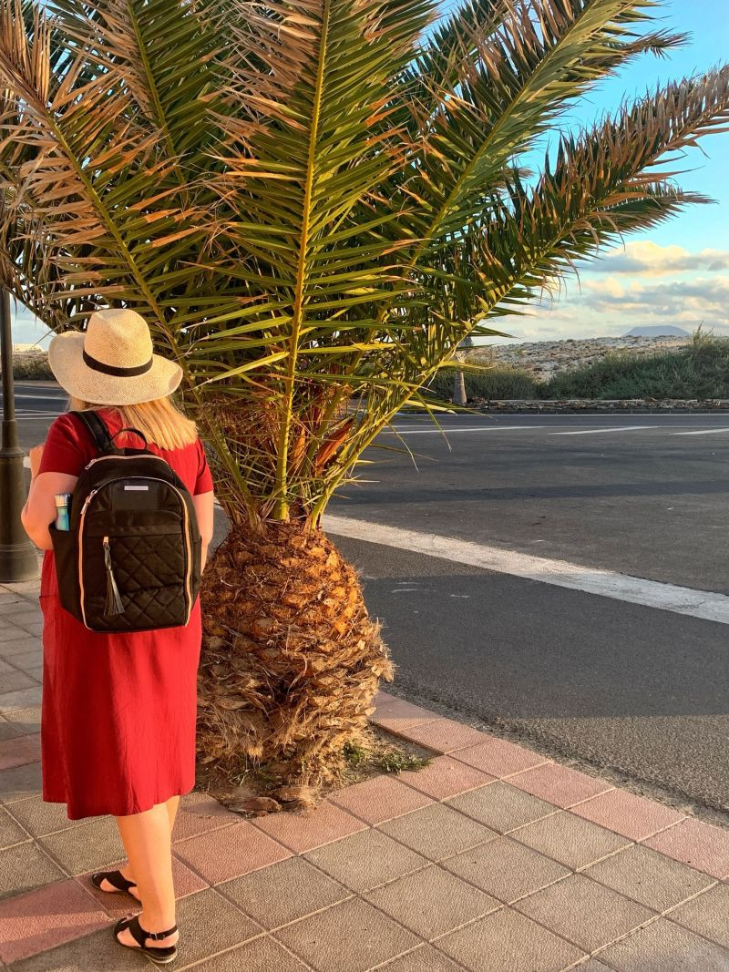 Me & My Travel Hack Backpack (side view) Best Carry-On Bag for a Woman with Style