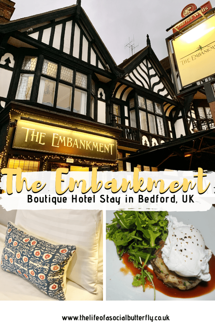 Seeking an affordable-luxury boutique hotel in Bedfordshire? Read my review of The Embankment Hotel Bedford, a small boutique hotel with great pub grub! This beautiful hotel has river views over the Embankment Bedford - click through to read more! #boutiquehotelbedroom #hoteldinner #bedfordshirehotel #boutiquestayinbedfordshire