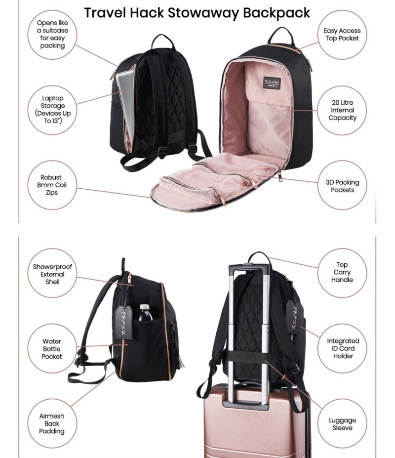 The Travel Hack Stowaway Backpack Features Amazon Image