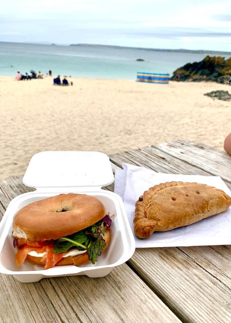 Porthgwidden Beach Cafe Salmon Bagel Cornish Pasty