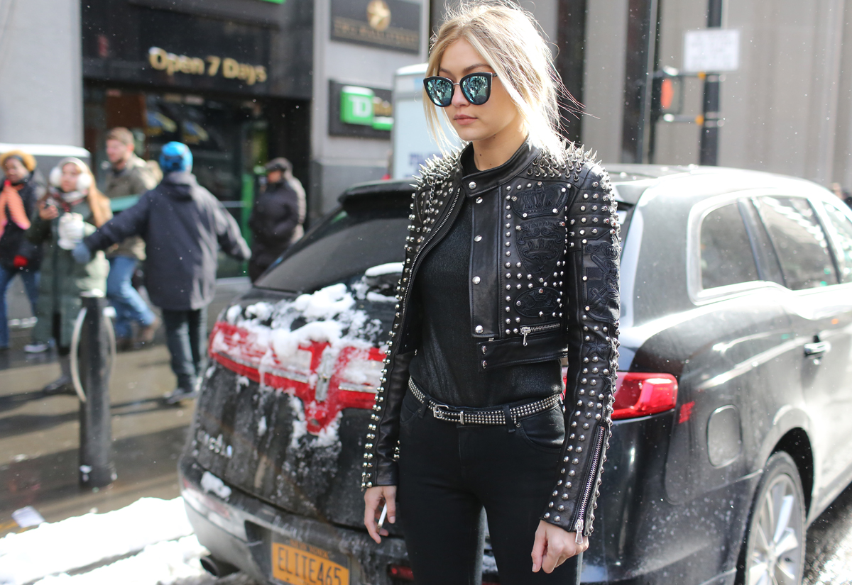 Image result for leather jackets on gigi hadid